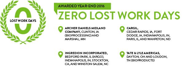 Corn Refiners Association Zero Lost Work Days Award